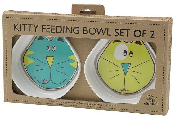 ORE Pet Comic Kitty Bowl Set - Blue