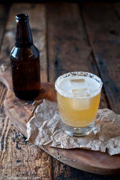 Golden ale beer cocktail (St. Germain, citrus, vodka, honey simple syrup, and Belgian golden ale):