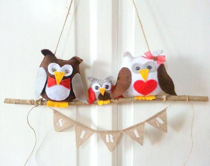 Custom Owls Home Decoration With Burlap Banner, Nursery Wall Decor, Family Burlap Banner, Custom Banner With Felt Owls by PinkAndBlueSugar on Etsy