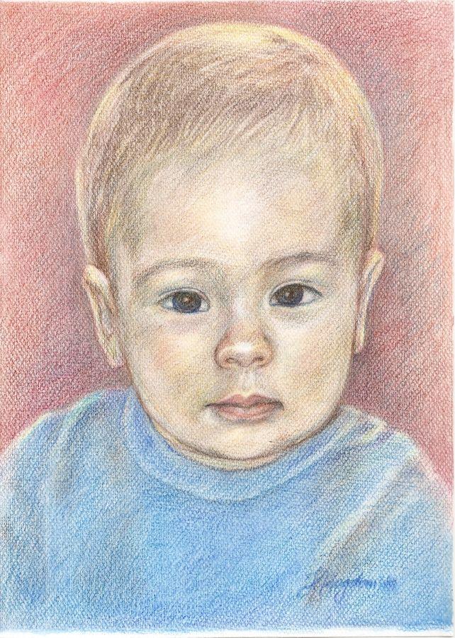 format A4, kredki (2013 rok) portret chłopca   zoom   digart.pl