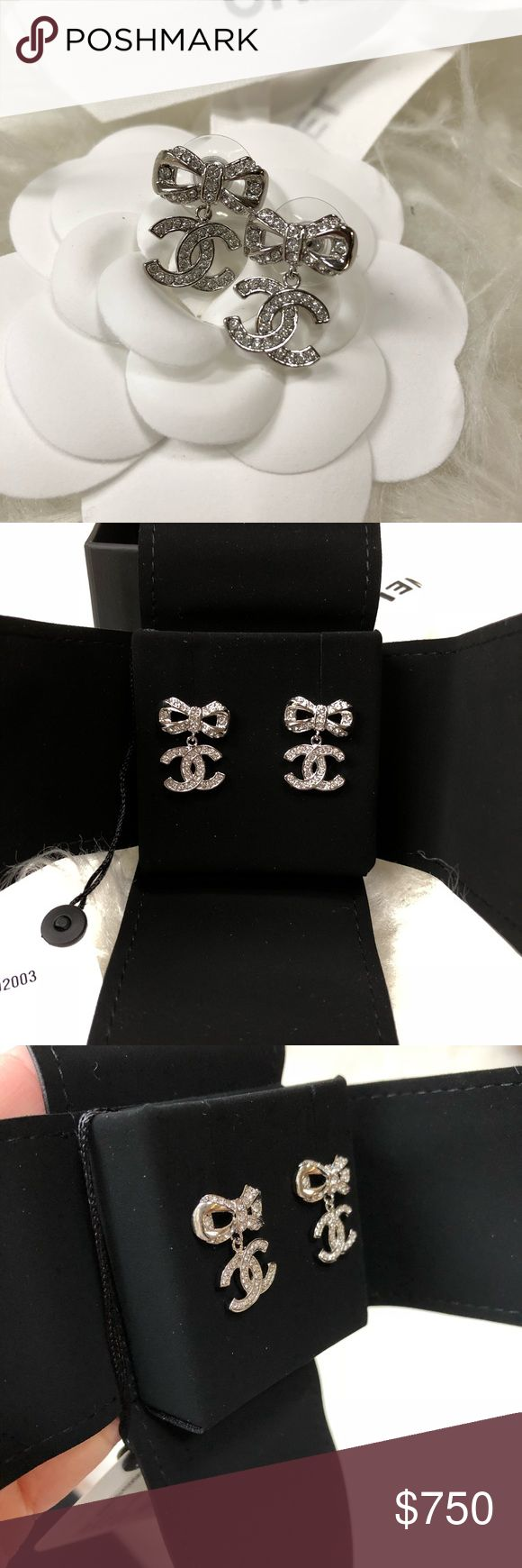 18P A98010 Chanel Crystal Bow CC Dangling Earrings Brand new! From the current collection. Silver. Looks even better in person! It sparkles 😍 ✨ will come with box, tag, ribbon, and camellia. I compared the size to a nickel in picture. Price FIRM on Posh. No Trades. CHANEL Jewelry Earrings