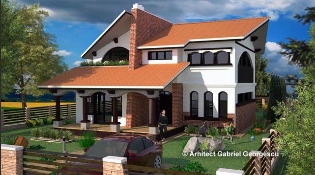 Proiecte de case cu etaj si terasa acoperita si spatioasa