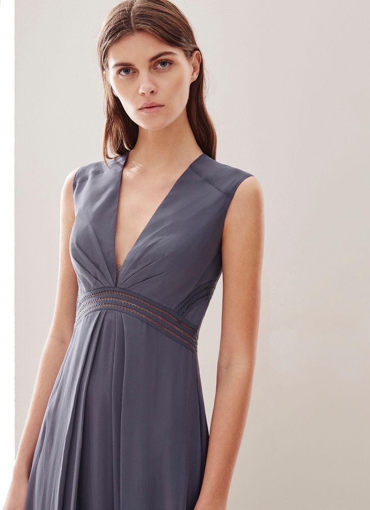 Vestido imperio con detalles calados - Fiesta | Adolfo Dominguez shop online