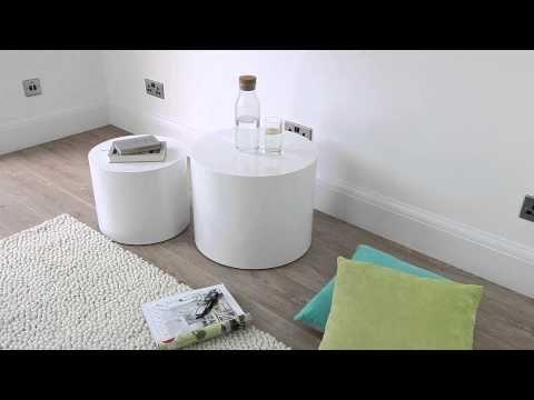 Pebble High Gloss Side Tables | White or Grey Gloss | UK