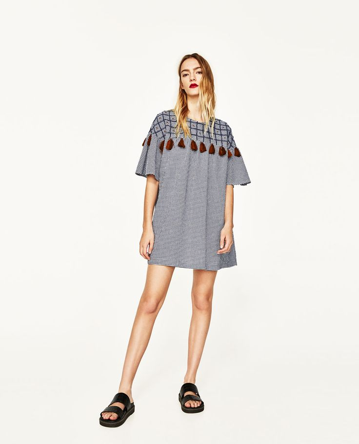 ZARA - WOMAN - SHORT DRESS WITH EMBROIDERY AND POMPOMS