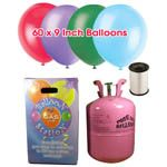 Disposable Helium Gas Cylinder with 60 Assorted Balloons and Curling Ribbon included