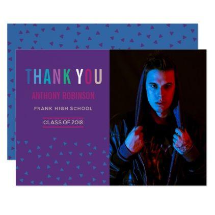 Trendy Colorways Graduate Photo Thank You Card - graduation gifts giftideas idea party celebration
