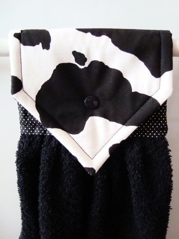 Cow Kitchen Towel, Cow Hanging Hand Towel, Gift For Mom, Farmhouse Kitchen,  Cow Hanging Towel, Cow Towel, Black White Cow Kitchen Decor