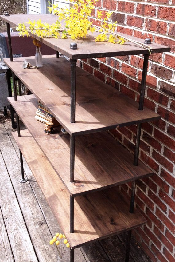 Free Standing Industrial Pipe Shelf Unit Furniture Diy