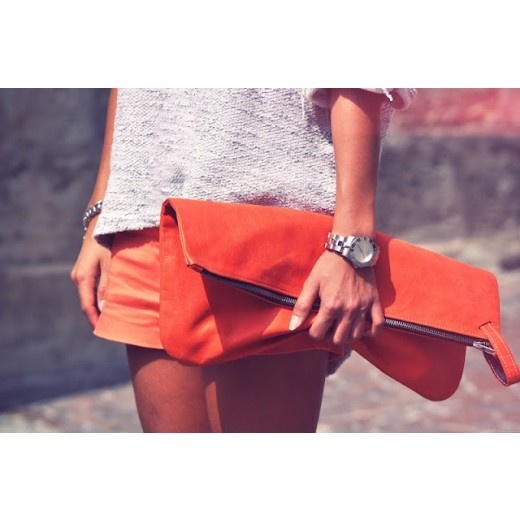 Peach maxi clutch by french designer And The Konfetti