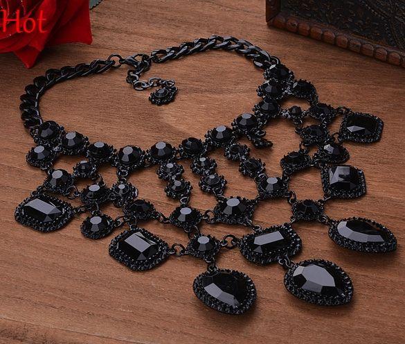 2016 Pearl Jewelry New Women Luxury Choker Necklace Pendant Rhinestone Necklace Party/Wedding Jewelry Black