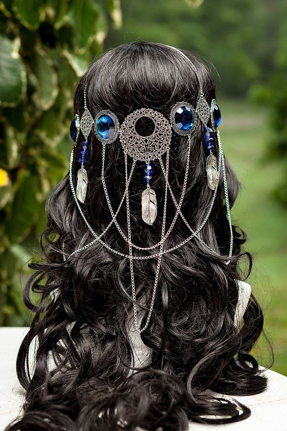 Beautiful handmade one of a kind sapphire blue coloured dreamcatcher goddess circlet