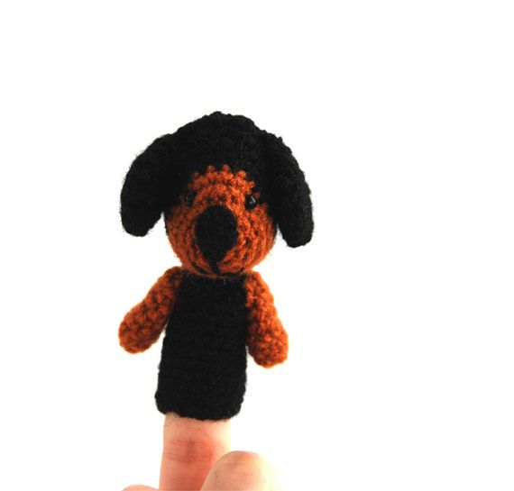 $21.56  #puppy #finger #puppet, #dachshund #toy, #amigurumi #dog #finger #puppet, #crochet #dachshund, #travelt #toy, #interactive #toy, #quiet #play, #durable #toy