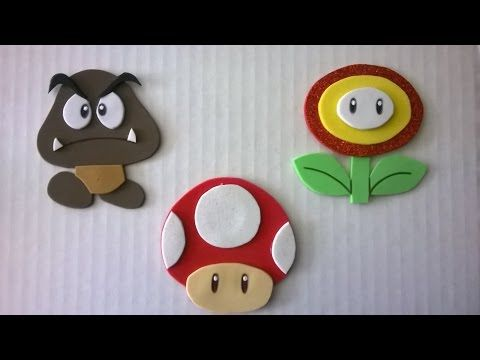 DIY Personajes de Mario bros en foamy!! fire flower, mushroom and goomba - YouTube