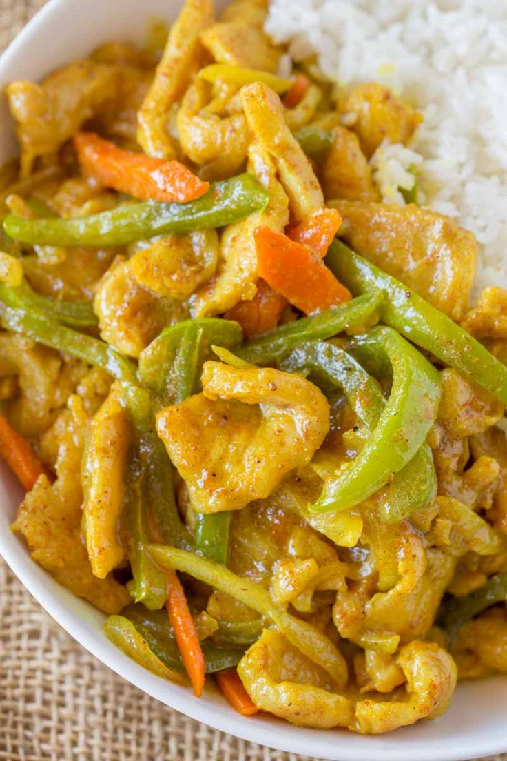 Easy Curry Chicken just like your favorite Chinese takeout restaurant with curry sauce, bell peppers, carrots and onions. Start to finish in less than 30 minutes, faster than delivery! Chinese Takeout