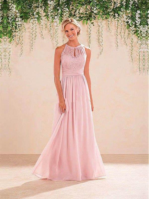 A-Line/Princess Halter Sleeveless Chiffon Lace Floor-Length Bridesmaid Dresses
