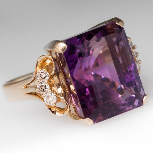 Vintage 13 Carat Emerald Cut Amethyst & Diamond Ring 14K