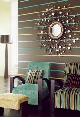 "Para muro en dormitorio (Teal & chocolate ""Extravagance"" wallcovering from Dishingstons)"