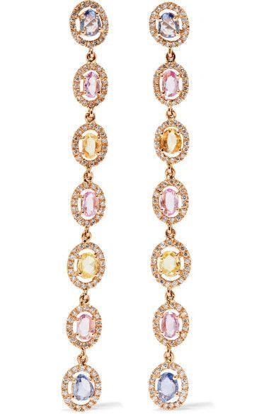 Amrapali | Blossom Ohrringe aus 18 Karat Gold mit Saphiren und Diamanten | NET-A-PORTER.COM