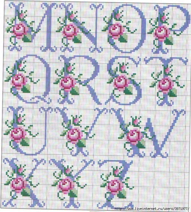 so pretty ~ cross stitch monogram alphabet with roses