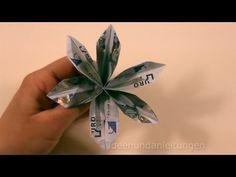 Geldgeschenke basteln: Blume - Geldscheine falten - Geld falten Hochzeit - YouTube
