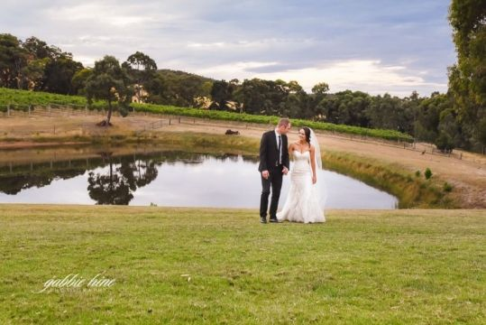 A lovely location for country style wedding photos - the lake at Lancemore Hill