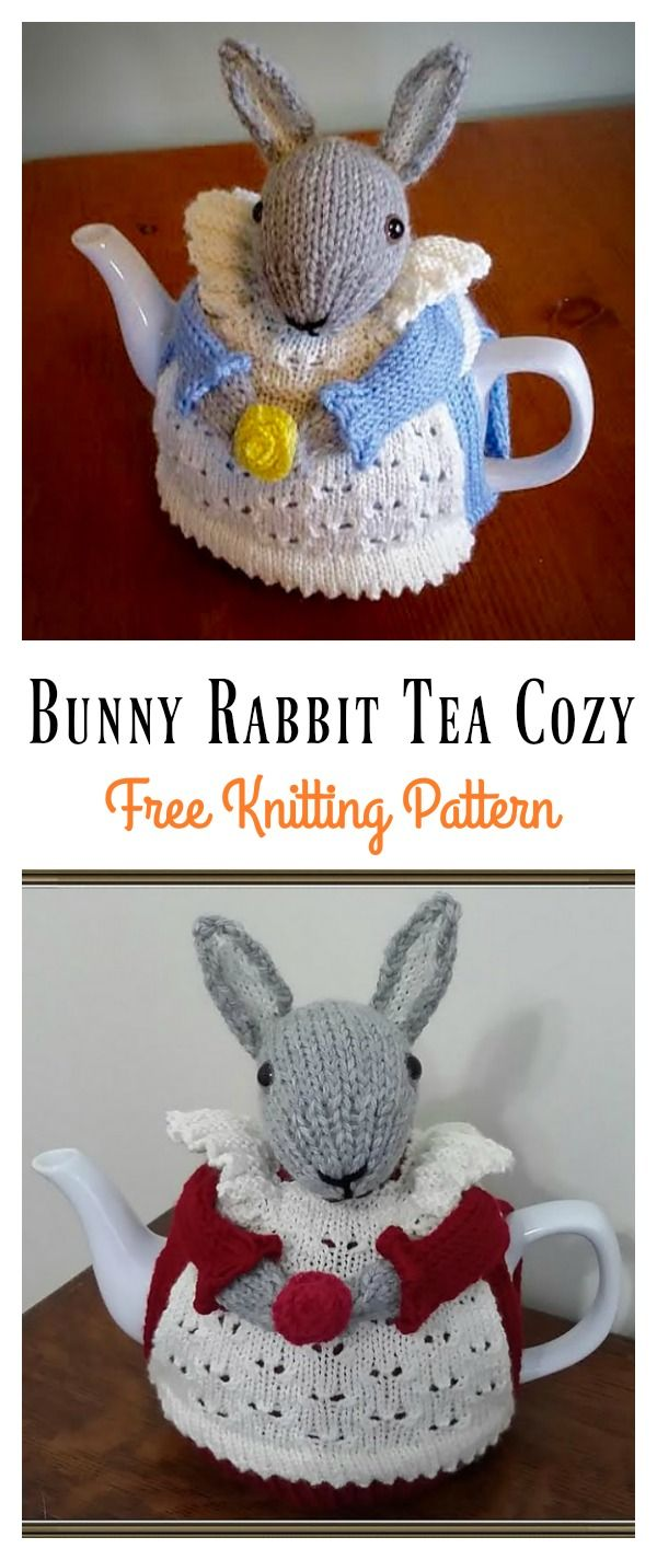 Mrs. Bunny Rabbit Tea Cozy Free Knitting Pattern #Freepattern #Easter #Knitting #Bunny