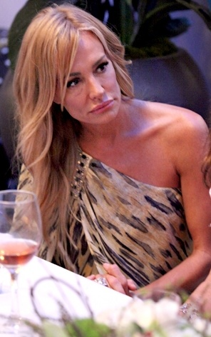 Taylor Armstrong looking her best ever in this one shoulder animal print gown - Designer details here: http://bigblondehair.com/real-housewives/rhobh/taylor-armstrongs-one-shoulder-animal-print-dress/