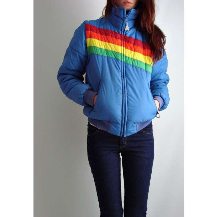 rainbow ski jacket with zip-off sleeves. I never zipped off the sleeves but did love my jacket and wore it with my super cool moon boots :)