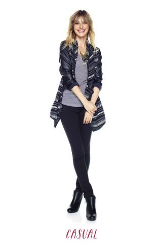 maurices outfit generator (blanket-style jacket with faux leather sleeves, shimmer racerback tank, the skinny knit pant, and noble zip up bootie)