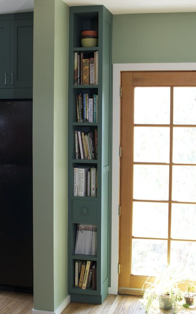 I'm going to try this in the entry way of my mid-entry home - image all the cool things I can store on the shelves along with my books. And they can be accessed from either the living room above or the entry way below. Maybe I'll be able to keep track of my keys in a nice knick knack bowl on one shelf!