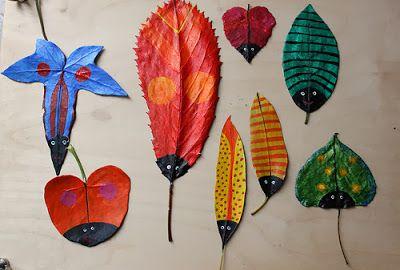 20 actividades para trabajar la naturaleza - hacer insectos con hojas
