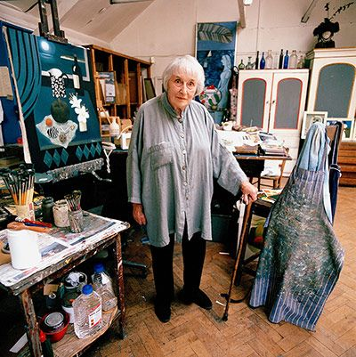 The artist Mary Fedden in her studio, who died aged 96 in 2012, was renowned for her modest-sized still lifes that combined a richness of colour and texture with perfect balance. Matisse and Braque were often cited as influences on the artist, whose mature style was rooted in the European tradition of belle peinture, or beautiful painting