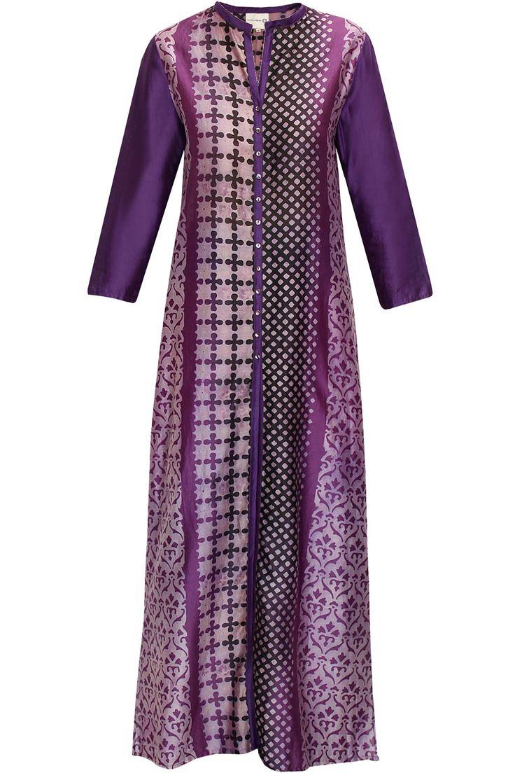 Purple and black block print tunicby Krishna Mehta. Shop now: http://www.perniaspopupshop.com/designers/krishna-mehta #tunic #krishnamehta #shopnow #perniaspopupshop