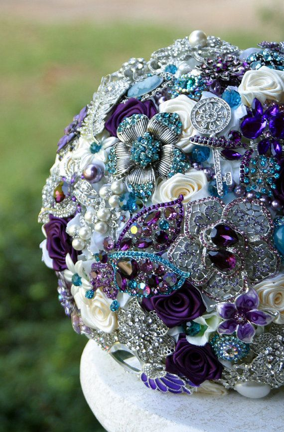 Teal and Purple Wedding Brooch Bouquet. Deposit on by annasinclair