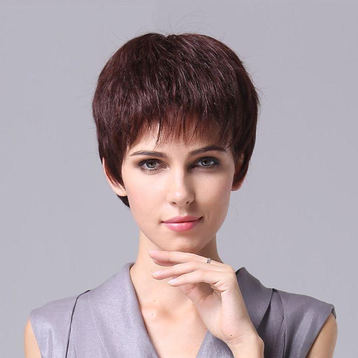Кружева топ новые настоящие волосы парик женский сердце короткие прямые волосы парик моды женщин человеческих волос поддельные сосны навес V17