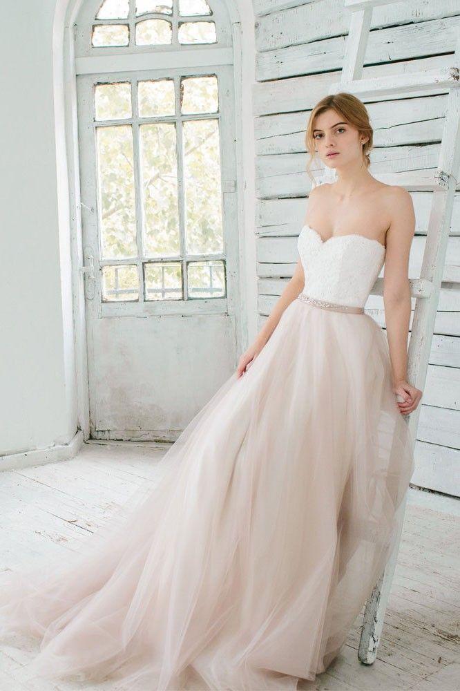 A-line Schatz trägerlosen Sweep Zug Tüll Brautkleid mit Spitzen Mieder #Brautjungfer #Hochzeit #Brautjungfer #Homedecor