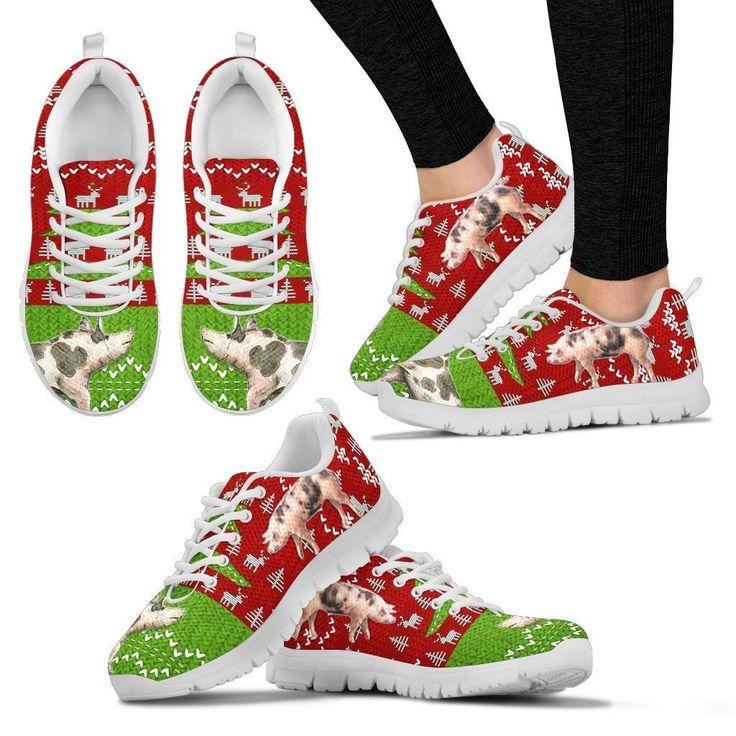 Pietrain Print Christmas Running Shoes For Women- Free Shipping