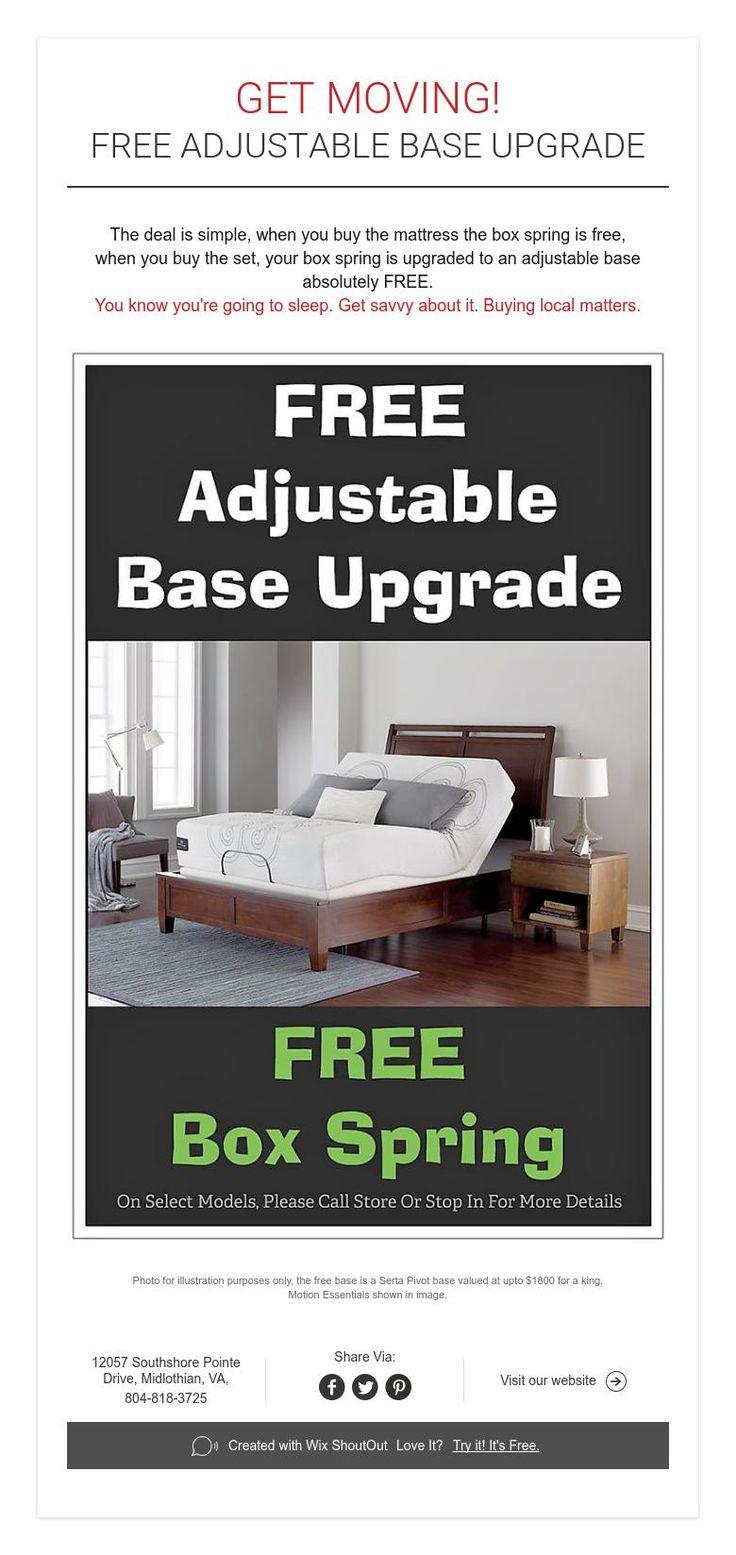 Get moving free adjustable base upgrade adjustable base