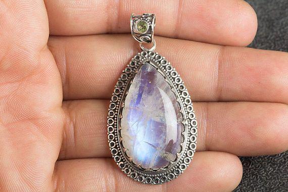 Moonstone Pendant Blue Flash Moonstone Pendant Healing