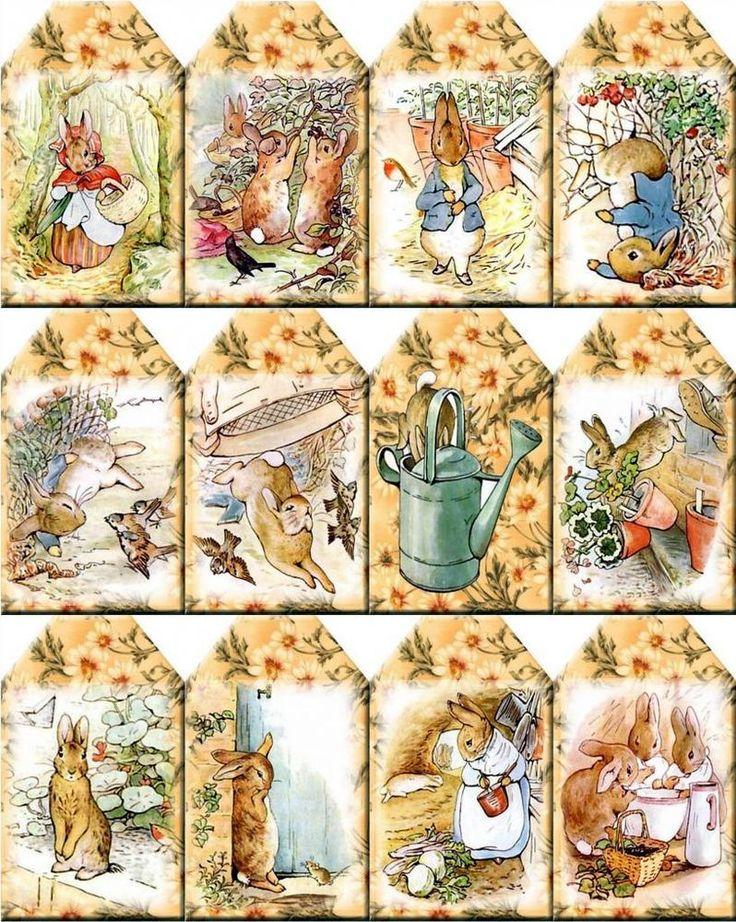 12 PETER RABBIT- SCRAPBOOK PAPER CRAFT CARD TAGS #HODGEPODGELANE
