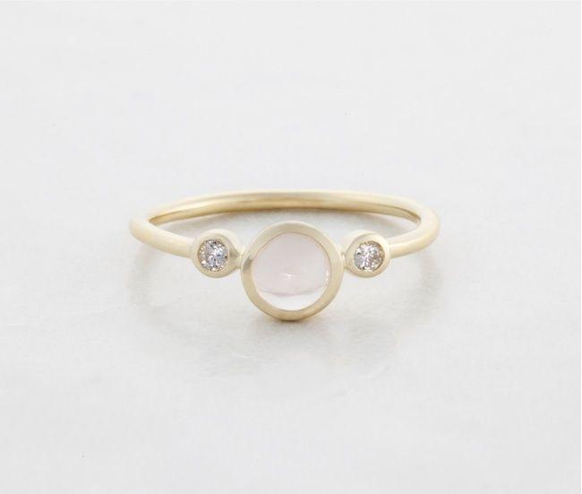 Shimmer Ring w. Diamonds and Rose Quartz  $1165