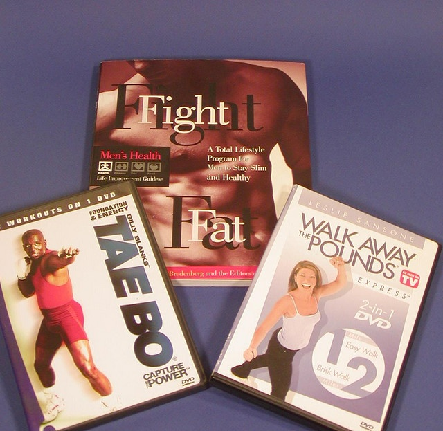 """Creator ObjectBilly Blanks, Leslie Sansone, Men's Health Magazine   Creator ImageBruce Miles    Description/Recollection Collection of a book """"Fight Fat"""", Tae Bo DVD, a kick boxing style exercise and Leslie Sansone fitness walking DVD; the 20th and 21 C it is fantastic!   Visit  http://okbehealthy.com"""