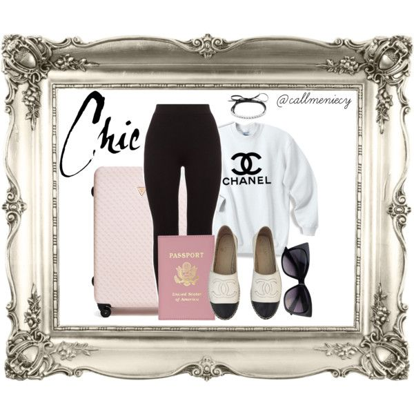 Airport Chic by callmeniecy on Polyvore featuring Chanel, GUESS and Fallon
