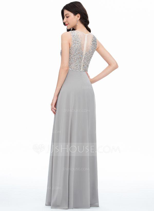c80f36deacc3e A-Line/Princess Scoop Neck Floor-Length Chiffon Prom Dresses With Beading  Sequins Split Front