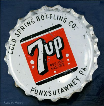 """Another vintage bottle cap painting is finished. """"7up"""" Oil on panel, 6 x 6 inch (15 x 15 cm). www.robdevries.com"""