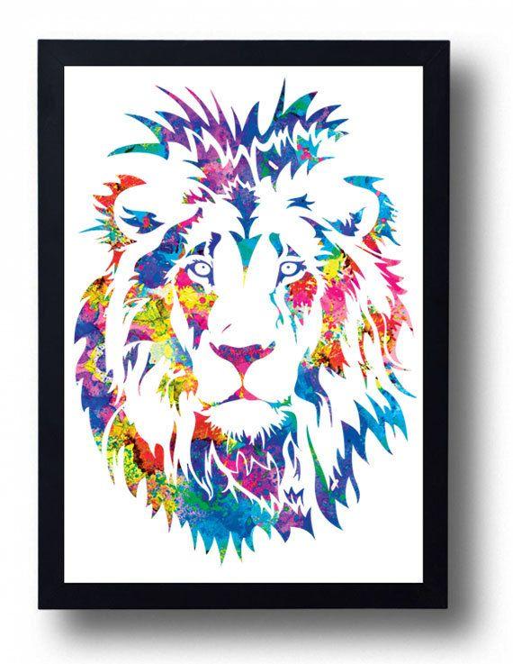 Lion Print Art Lion Watercolor Lion Painting Lion by BogiArtPrint