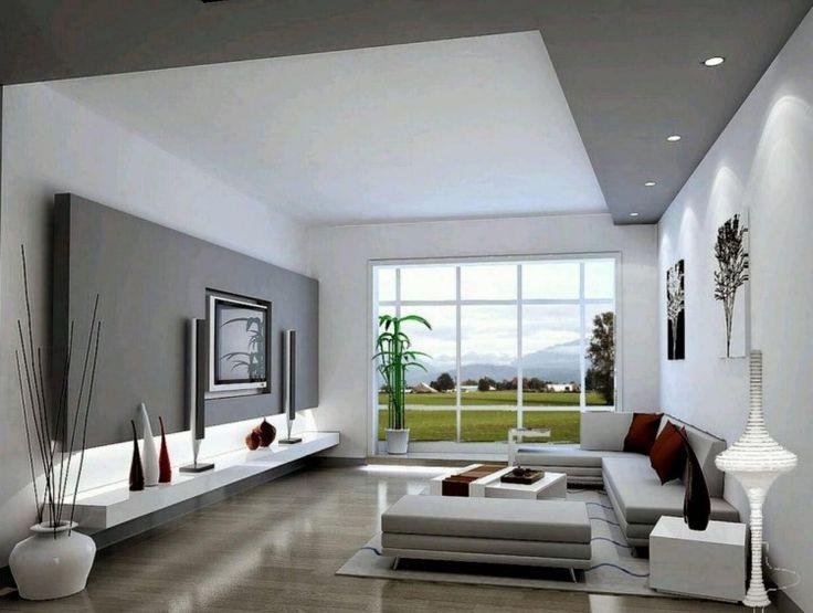 Schlicht gehaltenes wohnzimmer in wei und grau in for Innenarchitektur wohnzimmer
