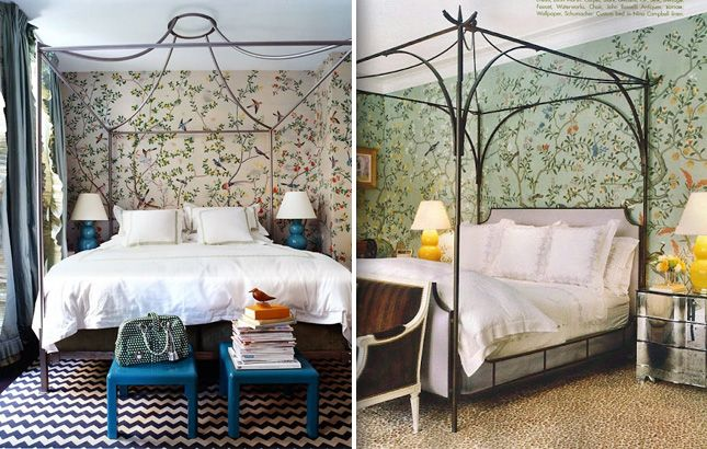 Two different Miles Redd bedrooms with de Gournay on the walls. He smartly used iron canopy beds without any dressings so as not to cover up...
