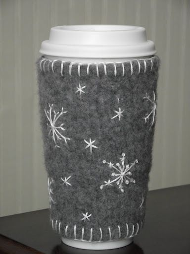 EASY MUG WARMER from felted sweater.  Love the embroidered snowflakes!| New Life, New Purpose